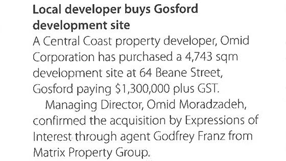 Local developer buys Gosford development site